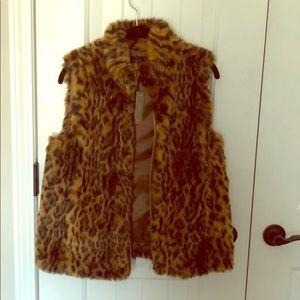 J. Crew leopard fur vest